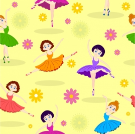 Dancing Girls Background Colorful Design Flowers Decoration
