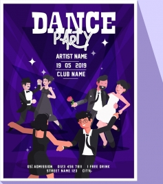dancing party banner people icons classical design