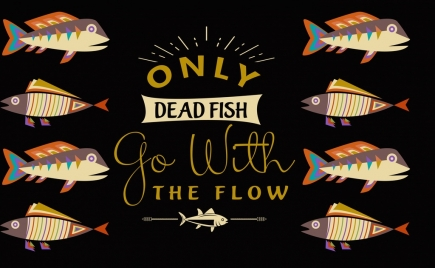 dead fish banner tow direction calligraphy decor
