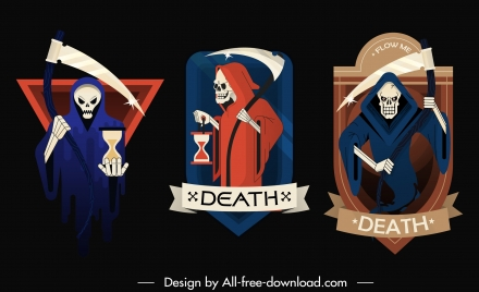 death icons scary horrible sketch colorful design