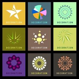 decor design elements various colorful symbols isolation