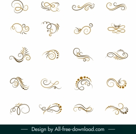 decor elements collection swirled shapes sketch