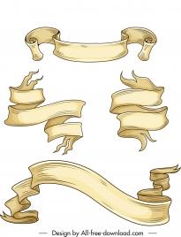decor ribbon templates classical 3d curled design
