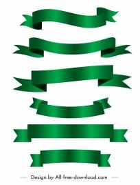 decor ribbon templates shiny green design curled 3d