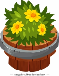 decorated flora icon classical wooden bucket sketch