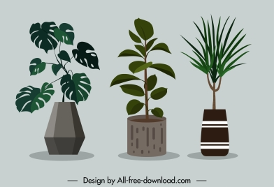 decorated houseplant icons colored classical design
