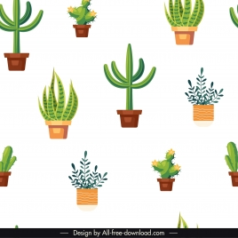 decorated plants pattern bright colored flat pots sketch