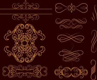 decoration design elements yellow curved lines design