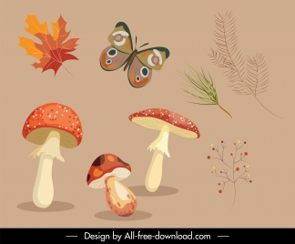 decorative autumn design elements mushroon butterflies plants sketch