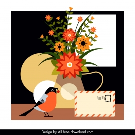 decorative background classical colorful flora bird envelope decor