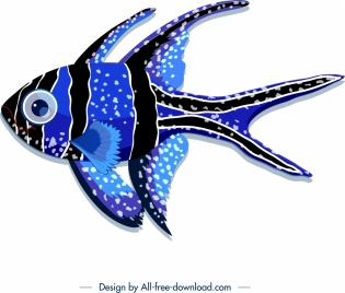 decorative background fish theme blue black design