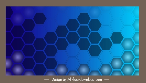 decorative background polygonal honeycomb shapes flat blue design