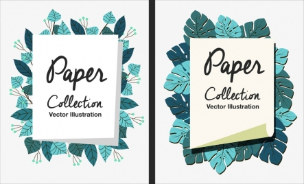 decorative background sets paper icon leaves decor