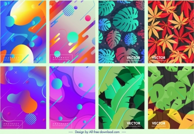 decorative background templates colorful abstract leaves themes