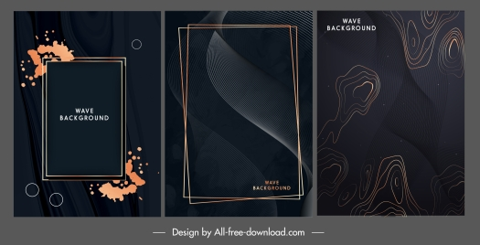 decorative background templates elegant dark grunge waving design