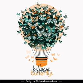 decorative balloon background butterflies ornament