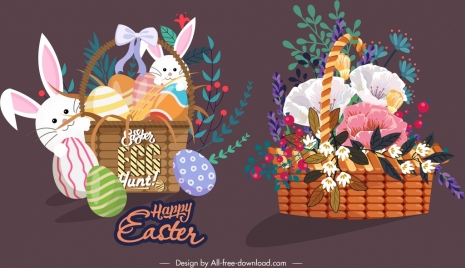 decorative baskets icons easter floral themes sketch