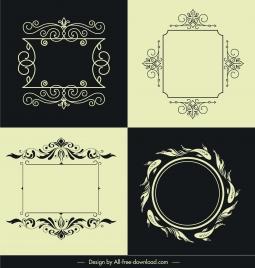 decorative border frame templates elegant retro symmetric shapes