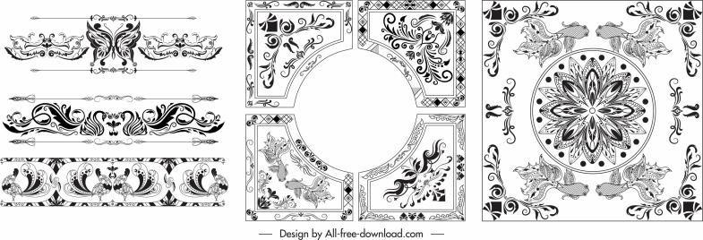 decorative borders templates black white elegant symmetric decor