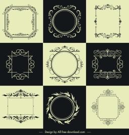 decorative borders templates elegant retro symmetric shapes
