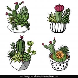 decorative cacti pots icons classical 3d handdrawn sketch