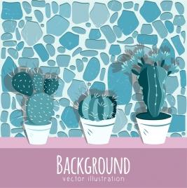 decorative cactus painting classical 3d brick wall backdrop