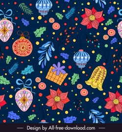 decorative christmas background colorful classical handdrawn elements