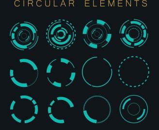 decorative circular icons dark blue circles isolation