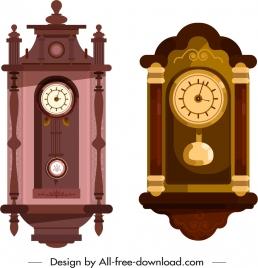 decorative clock templates colored vintage design