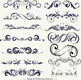 decorative design elements black white classical symmetrical curves