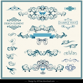 decorative design elements elegant classical symmetric curves
