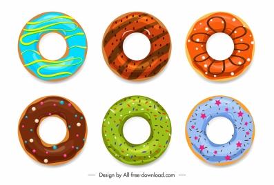 decorative donut icons colorful circles decor