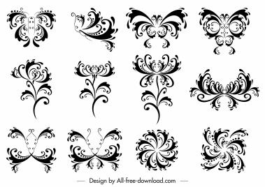 decorative elements collection black white symmetric swirled shapes