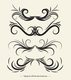 decorative elements elegant classic symmetric curves shapes