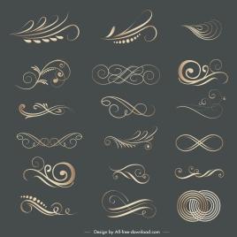 decorative elements elegant swirled lines shapes