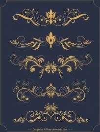 decorative elements sets classical elegant symmetric curves sketch