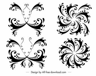 decorative elements templates black white symmetric curves sketch