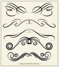 decorative elements templates elegant swirled symmetric shapes