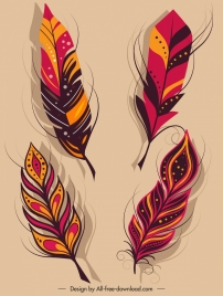 decorative feather icons classical colorful fluffy design