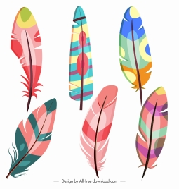 decorative feathers icons bright colorful handdrawn sketch
