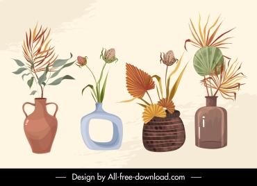 decorative floral vase icons elegant classical design