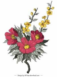 decorative flower painting colored classic handdrawn sketch