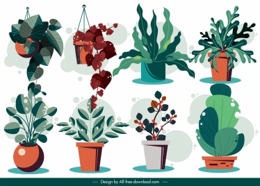 decorative flowerpot icons colored classic design