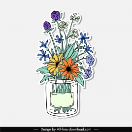 decorative flowers icons colorful handdrawn sketch classic design