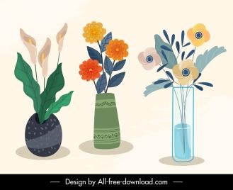 decorative flowers pots icons elegant flat classic handdrawn