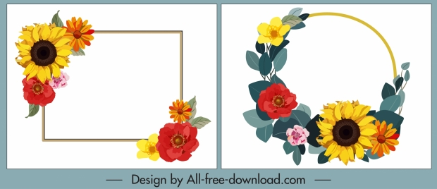 decorative flowers templates frame wreath sketch colorful design