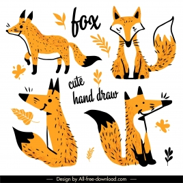 decorative fox icons cute classic handdrawn outline
