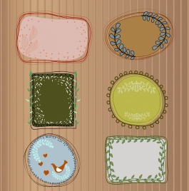 decorative frames collection colorful handdrawn sketch