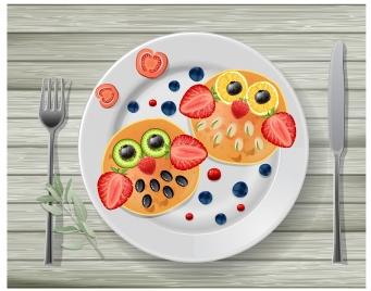 decorative fruits on dish vector illustration