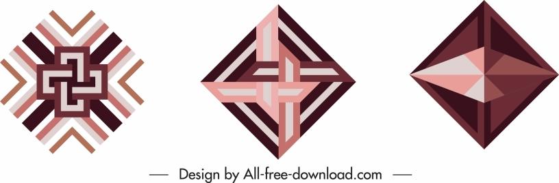 decorative geometric templates abstract symmetric illusion shapes